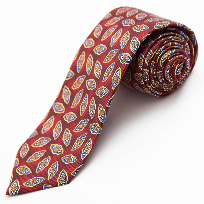 PRIMEtime Falling Leaves Men's Burgundy Silk Necktie