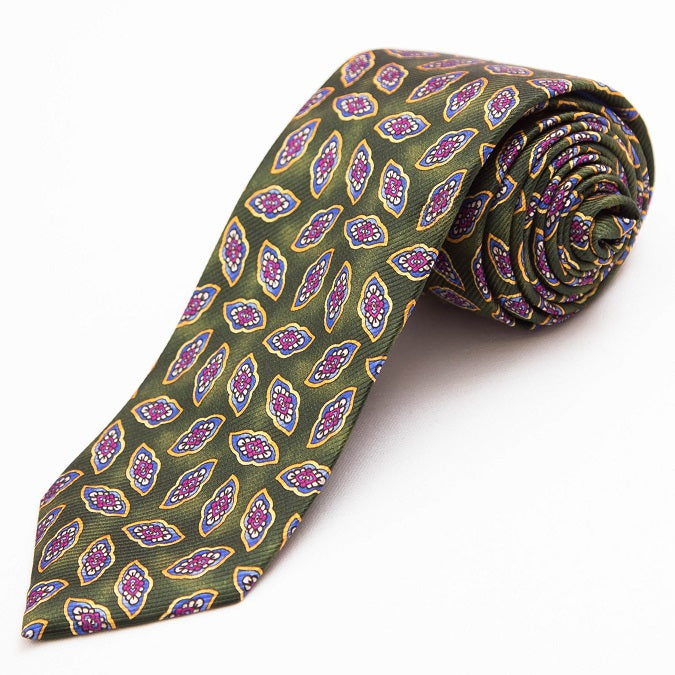 PRIMEtime Falling Leaves Men's Green Silk Necktie