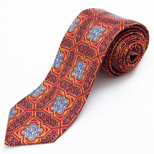 PRIMEtime Garnet Scroll Men's Burgundy Silk Necktie
