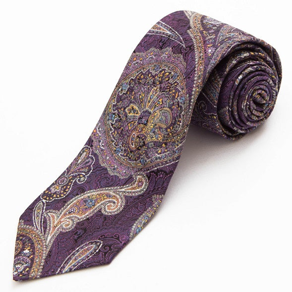 PRIMEtime Purple Haze Men's Paisley Silk Necktie