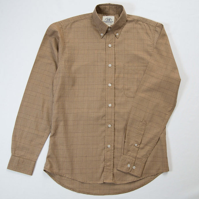 Primestitch Clothing & Apparel, Khaki Plaid Men's Button Down Shirt - Front