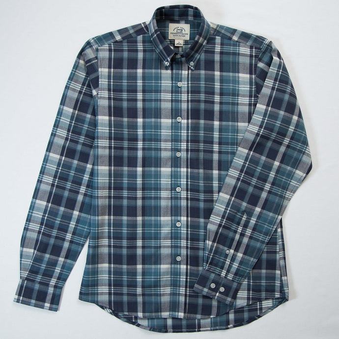 Primestitch Clothing & Apparel, Blue Green Madras Men's Button Down Shirt - Front
