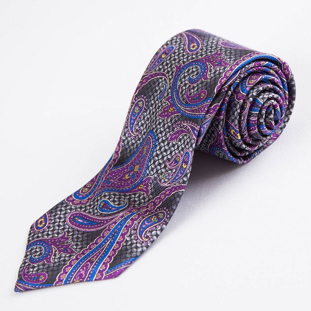 PRIMEtime Purple Rain Men's Paisley Silk Necktie