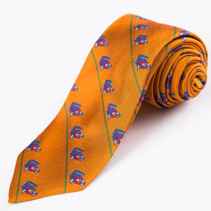 PRIMEtime 'Hot Rod' Men's Orange Themed Silk Necktie