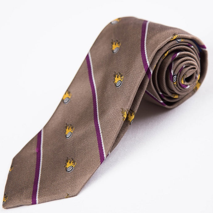 PRIMEtime 'Burnin Rubber' Men's Brown Themed Silk Necktie