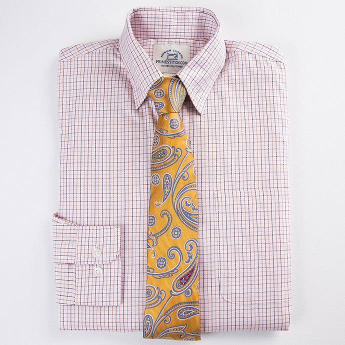 Primestitch Clothing & Apparel, Blush Check Men's Button Down Shirt - Front