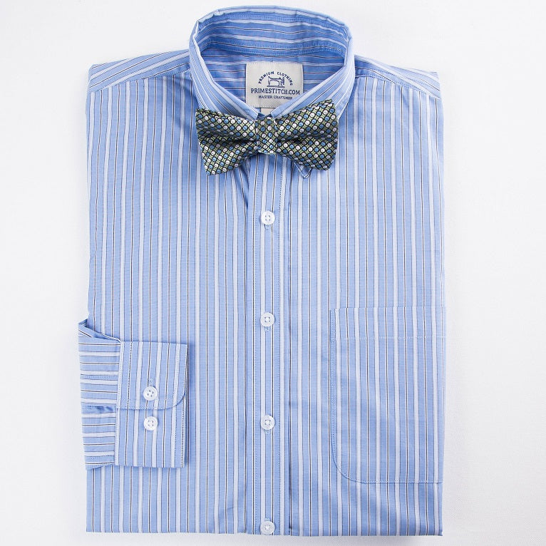 Primestitch Clothing & Apparel, Blue Stripe Men's Button Down Shirt - Front