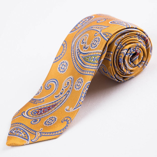 PRIMEtime Paisley Sunrise Men's Yellow Silk Necktie