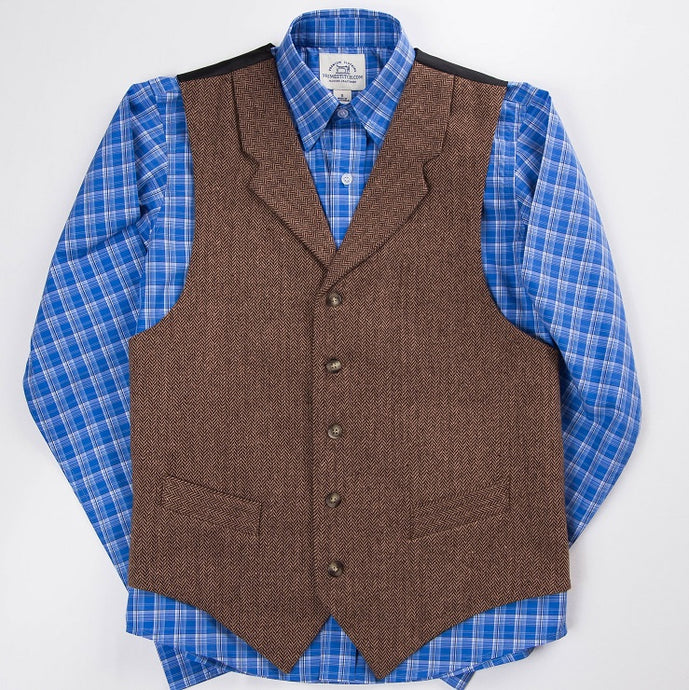 Primestitch Clothing & Apparel, Brown Herringbone Men's Vest