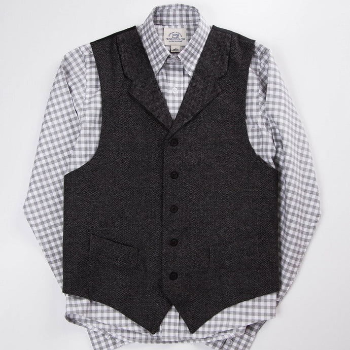 Primestitch Clothing & Apparel, Charcoal Herringbone Men's Vest