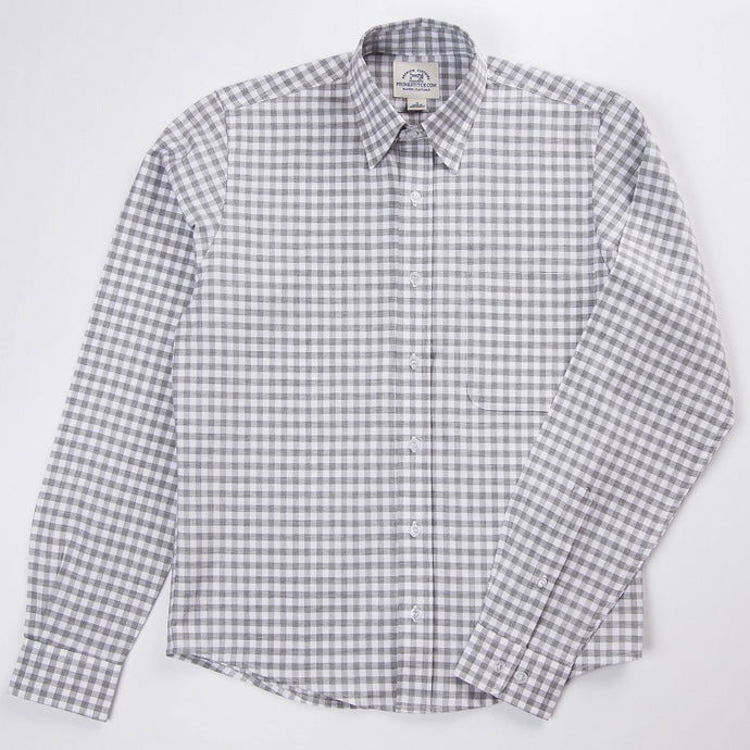 Primestitch Clothing & Apparel, Grey Gingham Men's Button Down Shirt - Front