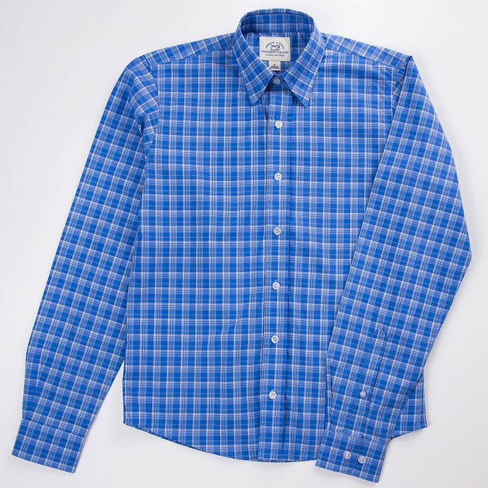 Primestitch Clothing & Apparel, Blue Tartan Men's Button Down Shirt - Front