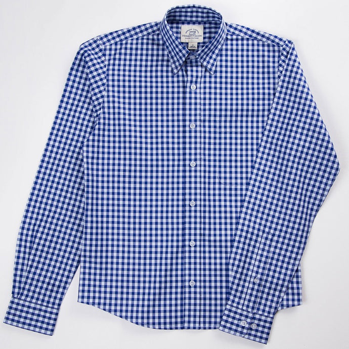 Primestitch Clothing & Apparel, Blue Gingham Men's Button Down Shirt - Front