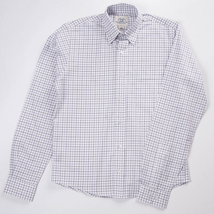 Primestitch Clothing & Apparel, White Check Men's Button Down Shirt - Front