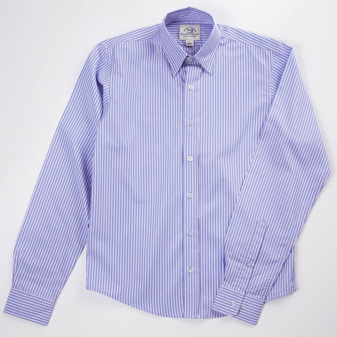 Primestitch Clothing & Apparel, Pink & Blue Stripe Men's Button Down Shirt - Front