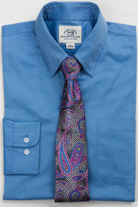 Primestitch Clothing & Apparel, Blue Men's Button Down Shirt - Front