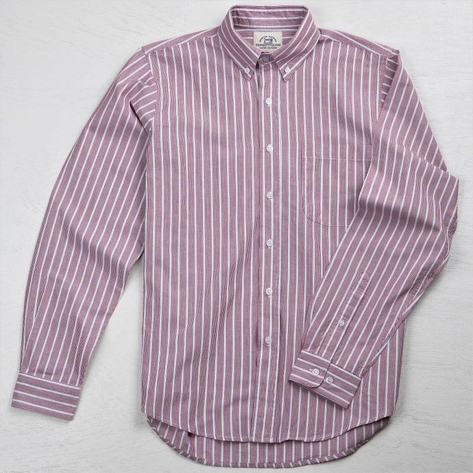Primestitch Clothing & Apparel, Textured Red Stripe Men's Button Down Shirt - Front