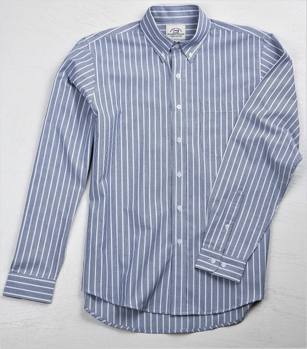 Primestitch Clothing & Apparel, Textured Navy Stripe Men's Button Down Shirt - Front
