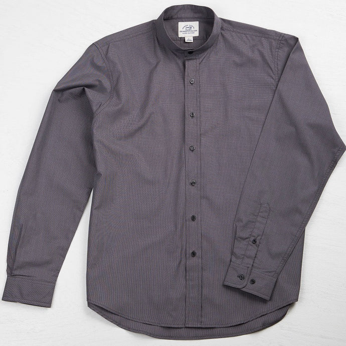 Primestitch Clothing & Apparel, Dark Grey Men's Button Down Band Collar Shirt - Front