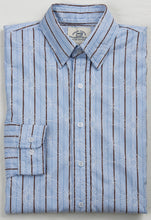 Primestitch Clothing & Apparel, Blue Embroidery Stripe Men's Button Down Shirt