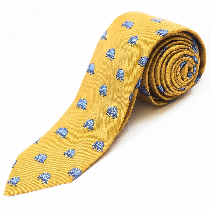PRIMEtime 'Armadillo' Men's Yellow Themed Silk Necktie