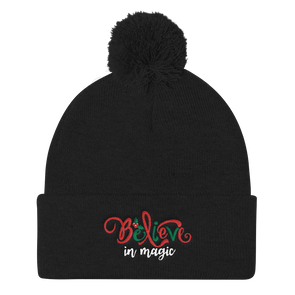 Believe In Magic Pom Pom Knit Cap