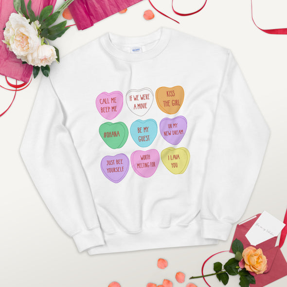 Conversation Heart Unisex Sweatshirt