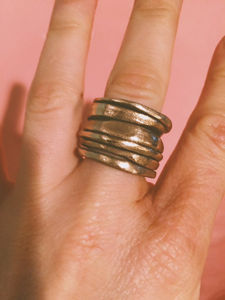 Hand-Sculpted Stacked Bronze or Sterling Silver Rings