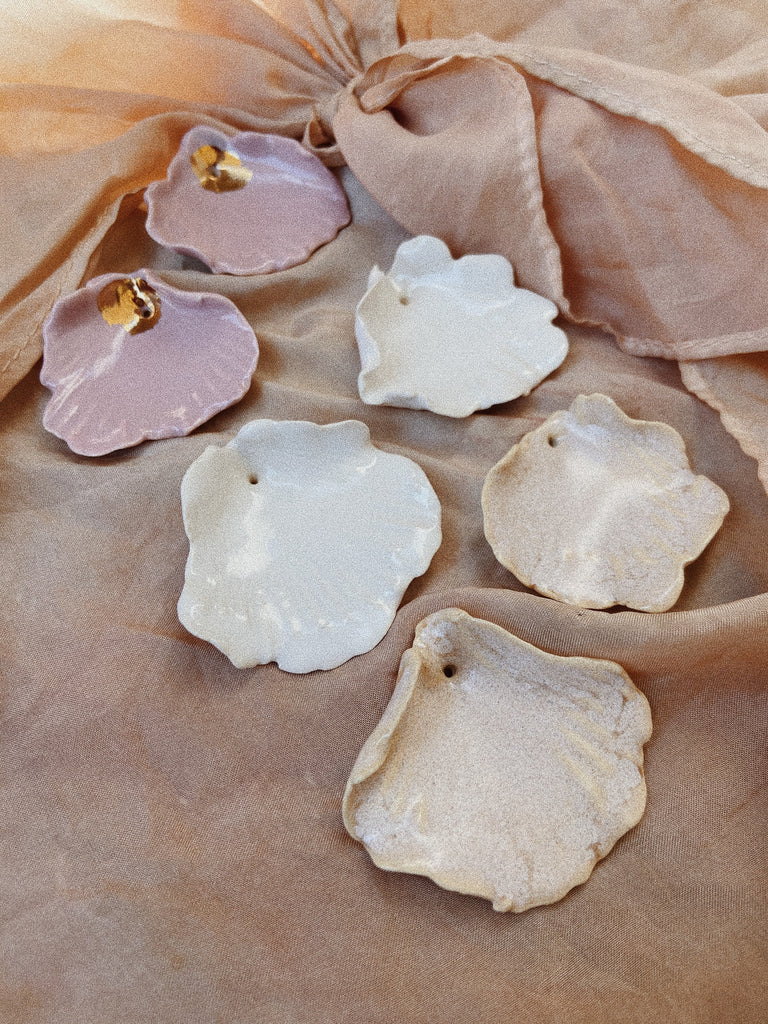 Porcelain Hand-sculpted Scallop Earrings