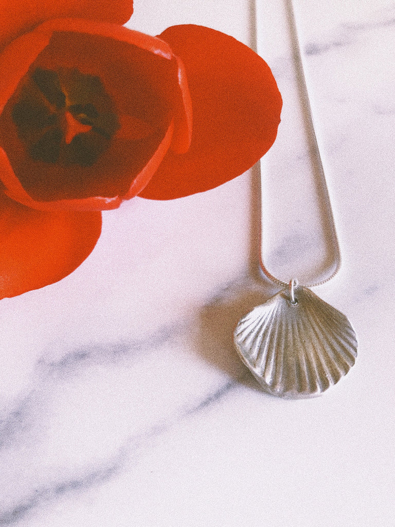 Sterling Silver Hand-sculpted Scallop Necklace