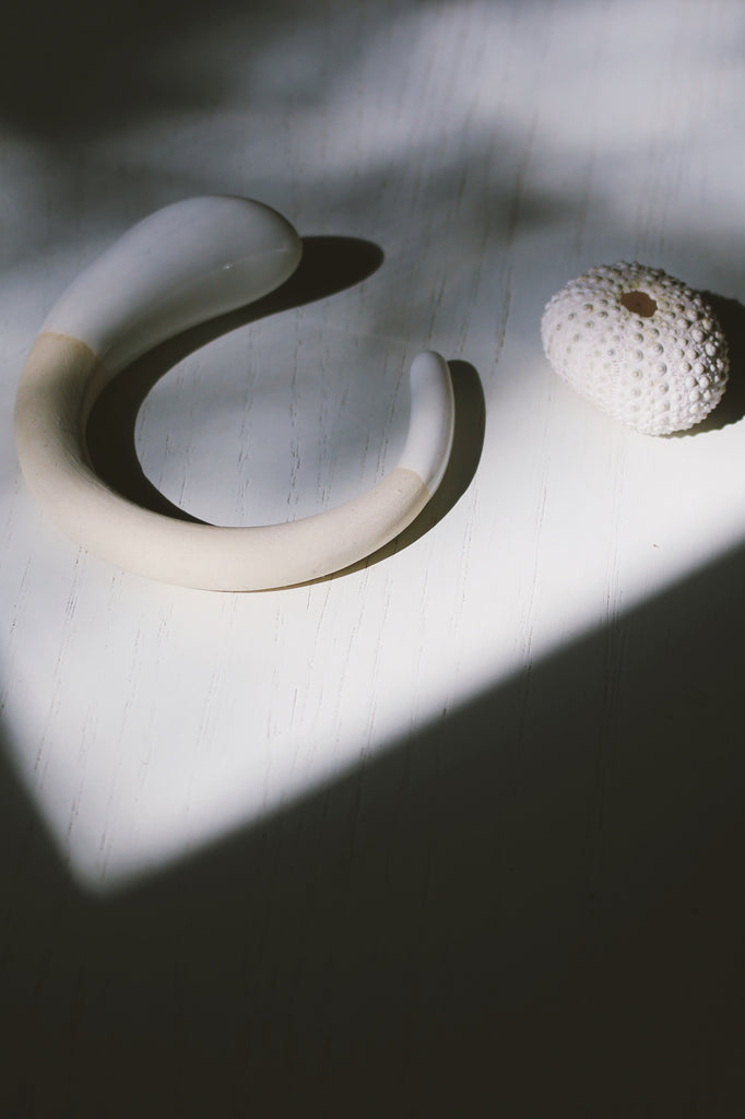 Hand-Sculpted Porcelain Torc Bangle