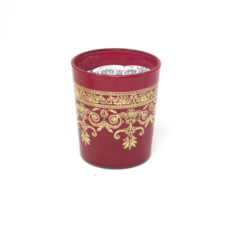 Frosted Glass Candle - Maroon
