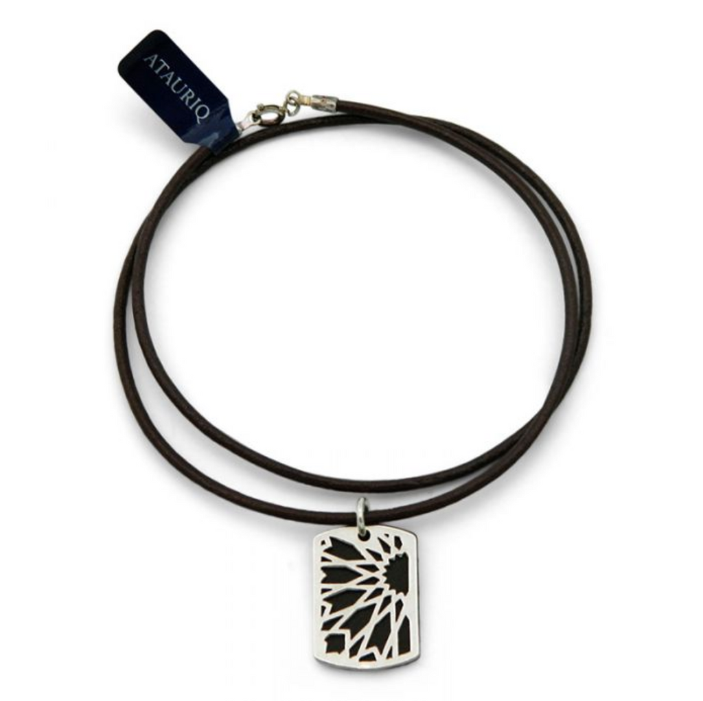 Leather & Silver Omeya Pendant - brown