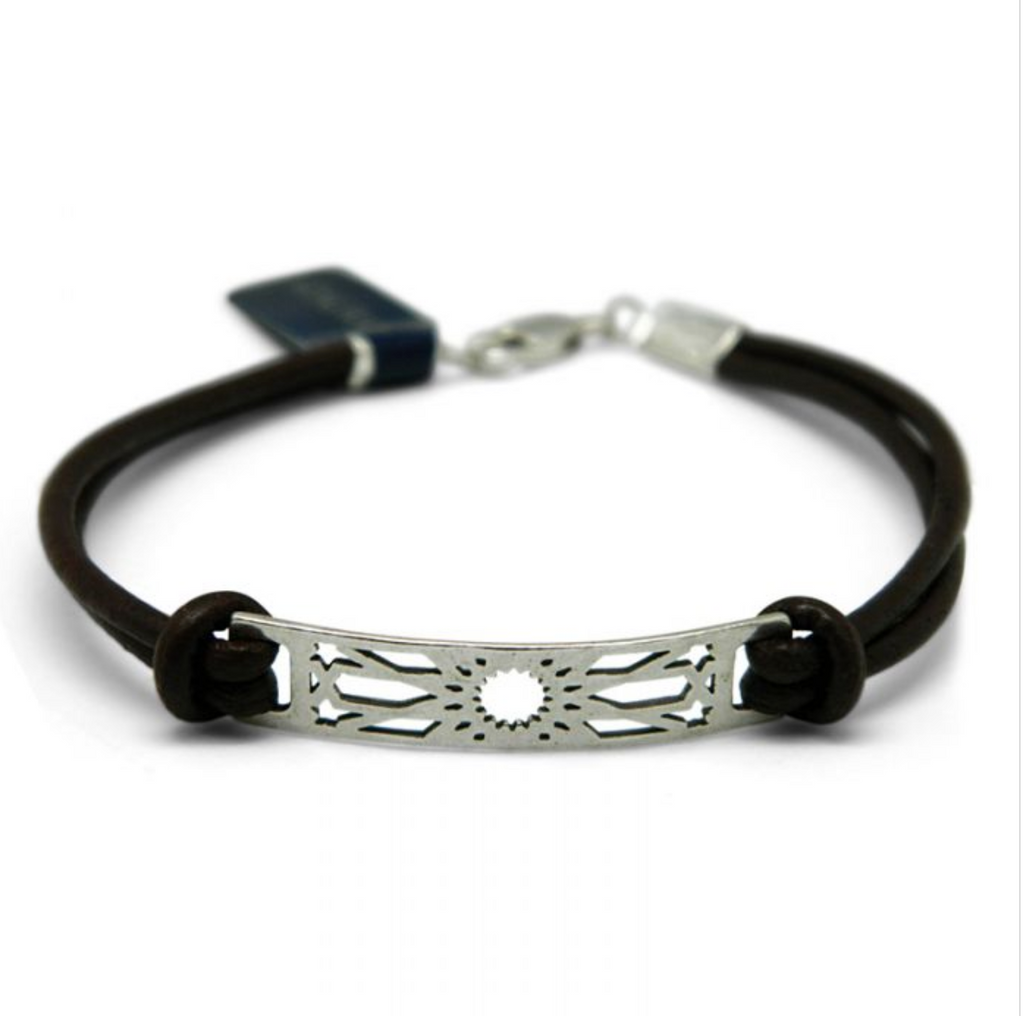 Silver & Leather Omeya Bracelet