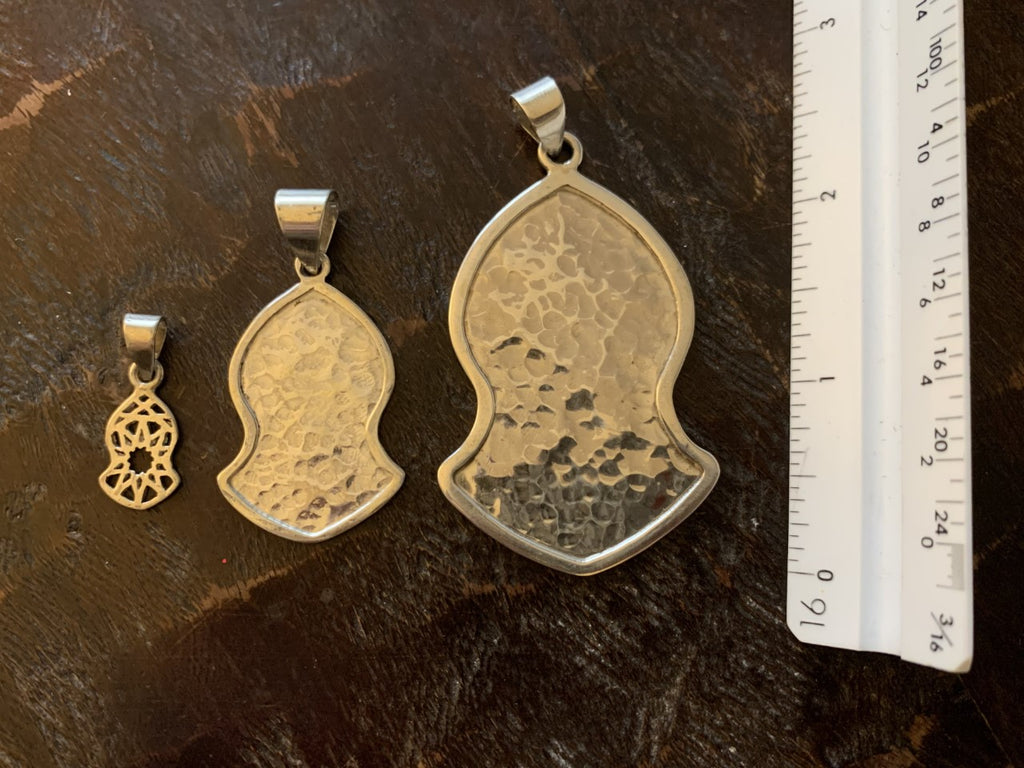 "Pendant - Large Silver Hammered - 2 1/4"" x 1 1/2"""