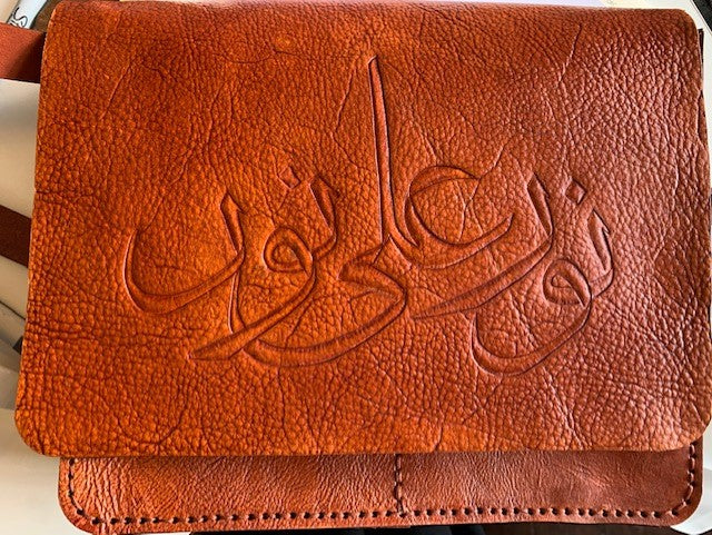 Leather Calligraphy Shoulder Bag