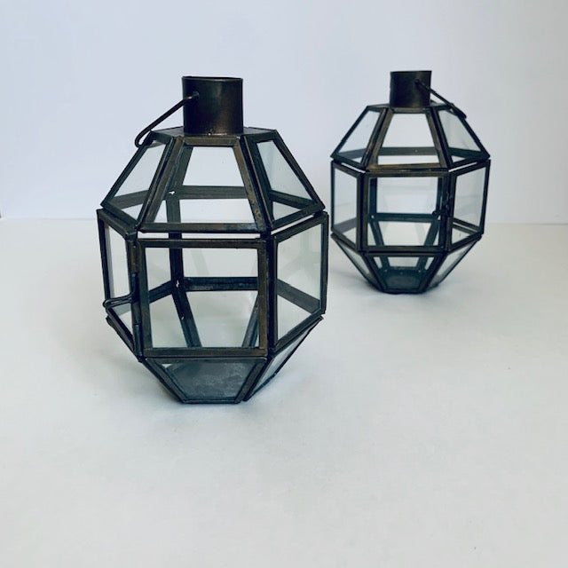 Aged Brass Mini Lantern Set