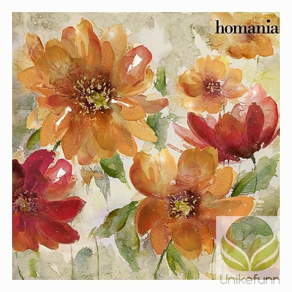 Rød blomster lerretramme by Homania