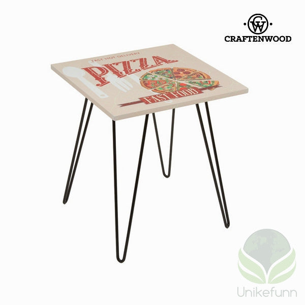 Firkantet bord med pizzadesign beige by Craftenwood