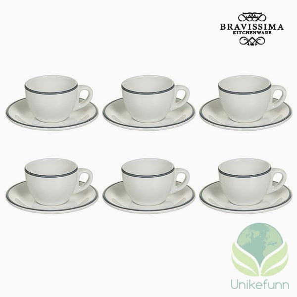 Tea set China crockery Hvit Grå (12 pcs) - Kitchen's Deco Samling by Bravissima Kitchen