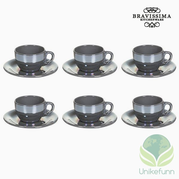 Tea set China crockery Grå (12 pcs) - Kitchen's Deco Samling by Bravissima Kitchen