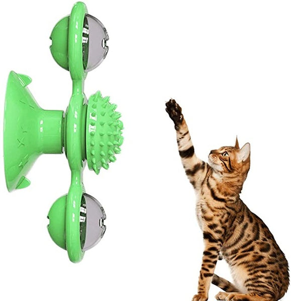 green cat spinning toy for kittens