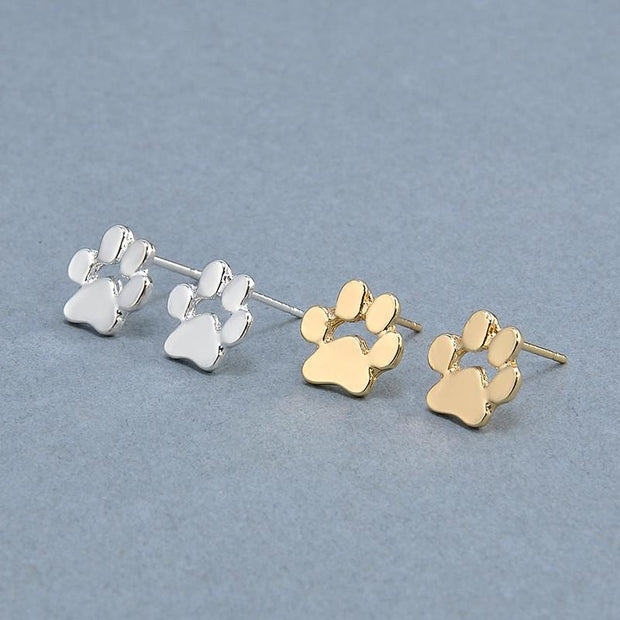 Cute Cat and Dog Paw Prints Stud Earrings For Women - Fashion Jewelry