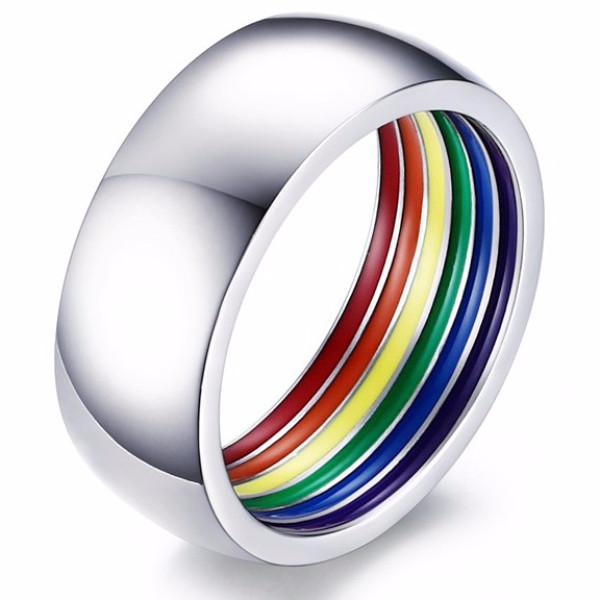 Inner Rainbow Wedding Band
