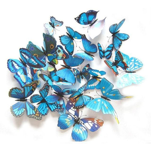12Pcs/set Beautiful 3D Multicolor PVC Magnet Butterflies for Home Decoration