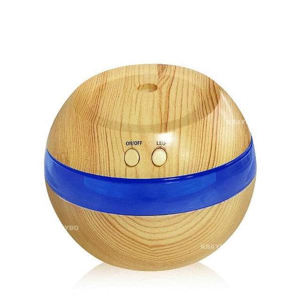 USB Ultrasonic Humidifier, 300ml Aroma Diffuser with Blue LED Light (Dark wood)