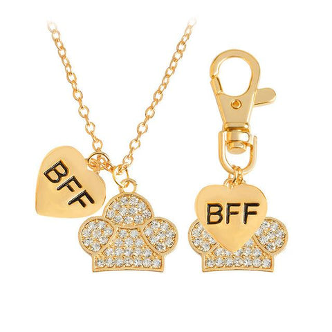 BFF Heart Paw Pendant Necklace and Keychain - 2 pcs/set