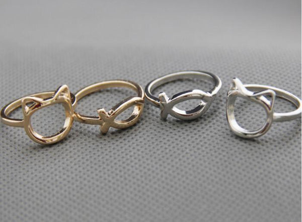 Cute Fish and Cat Finger Rings Set - 2pcs/set