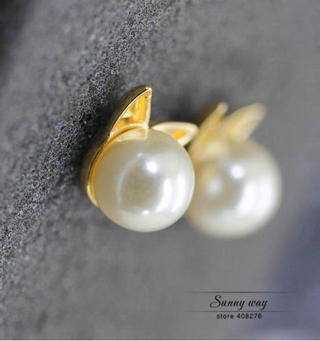 Gorgeous Cat Ears Pearl Studs Earrings