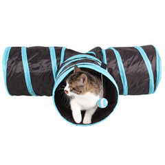Pet Cat Tunnel - Collapsible 3 Way Play Toy - Fun for Rabbits, Kittens, and Dogs